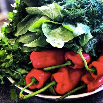 Fresh vegetables ready for preparation
